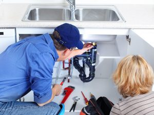 picture of aa plumber showing to the customer where the leak is