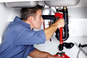 professional plumber picture while working