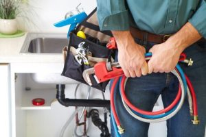 professional plumber hand holding tools photo