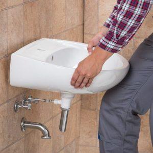 installing of a bathroom sink photo