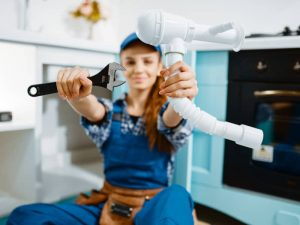 female plumber and fixture photo